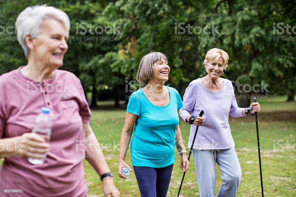 Senior women on morning walk in park stock photo