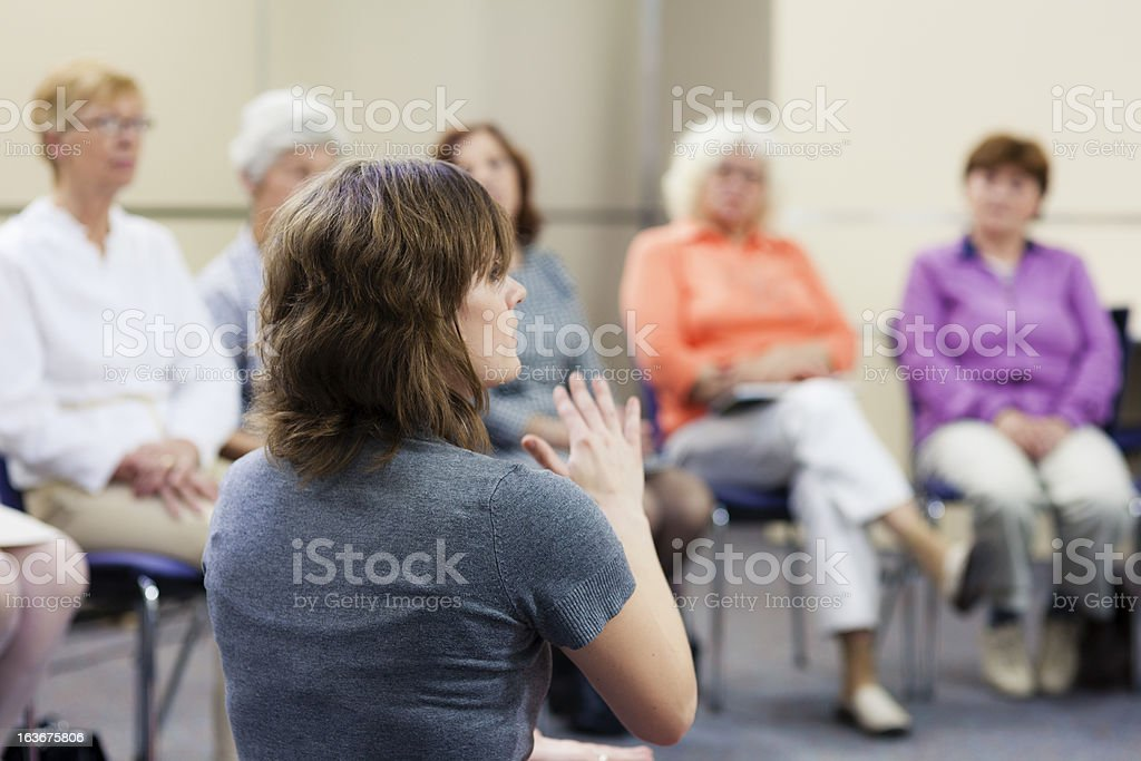 Senior women on seminar stock photo