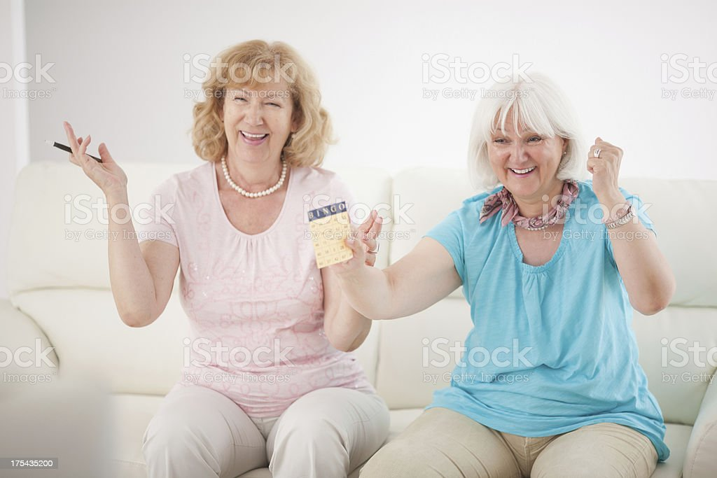 Senior women playing bingo. stock photo