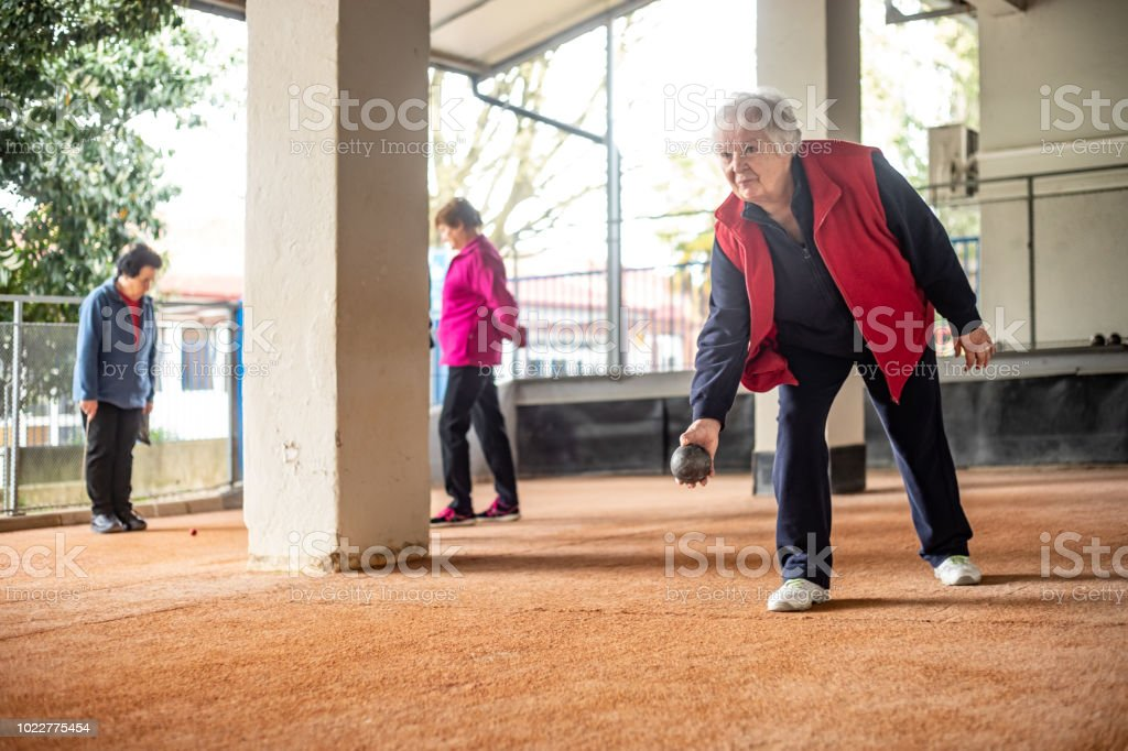 Senior Women Playing Petanque stock photo