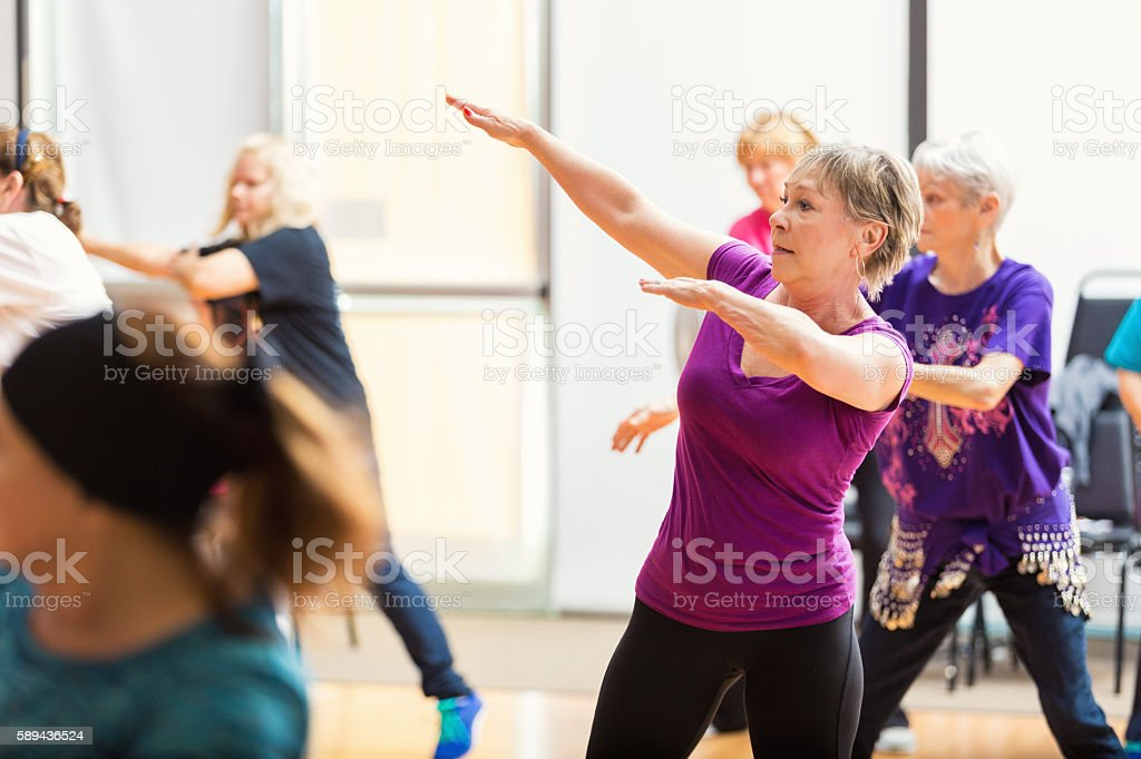 Senior women take Dance lessons stock photo