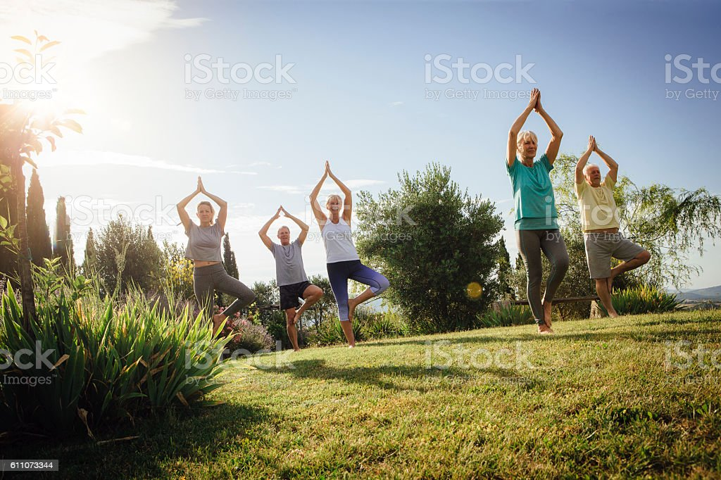 Senior Yoga Class Outdoors stock photo