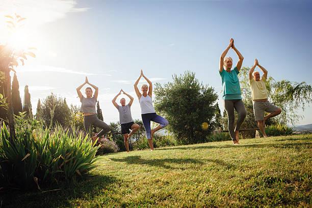 senior yoga class outdoors - 헬스 스파 뉴스 사진 이미지