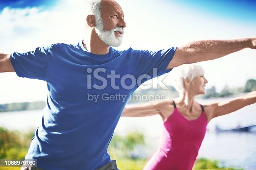 Mature couple in warrior yoga position. Side view. Horizontal.