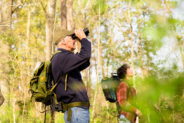 Seniors: Active senior couple outdoors hiking in forest. Nature. stock photo