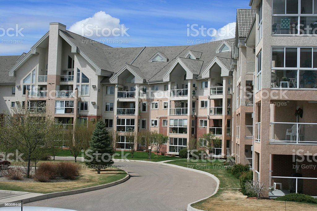 Senior's apartment building with peaked architecture royalty-free stock photo