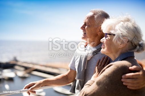 Affectionate mature couple enjoying summer vacation by seaside at resort