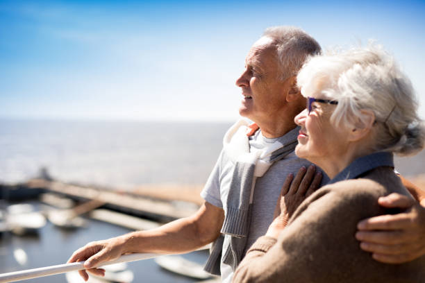 Seniors at resort stock photo