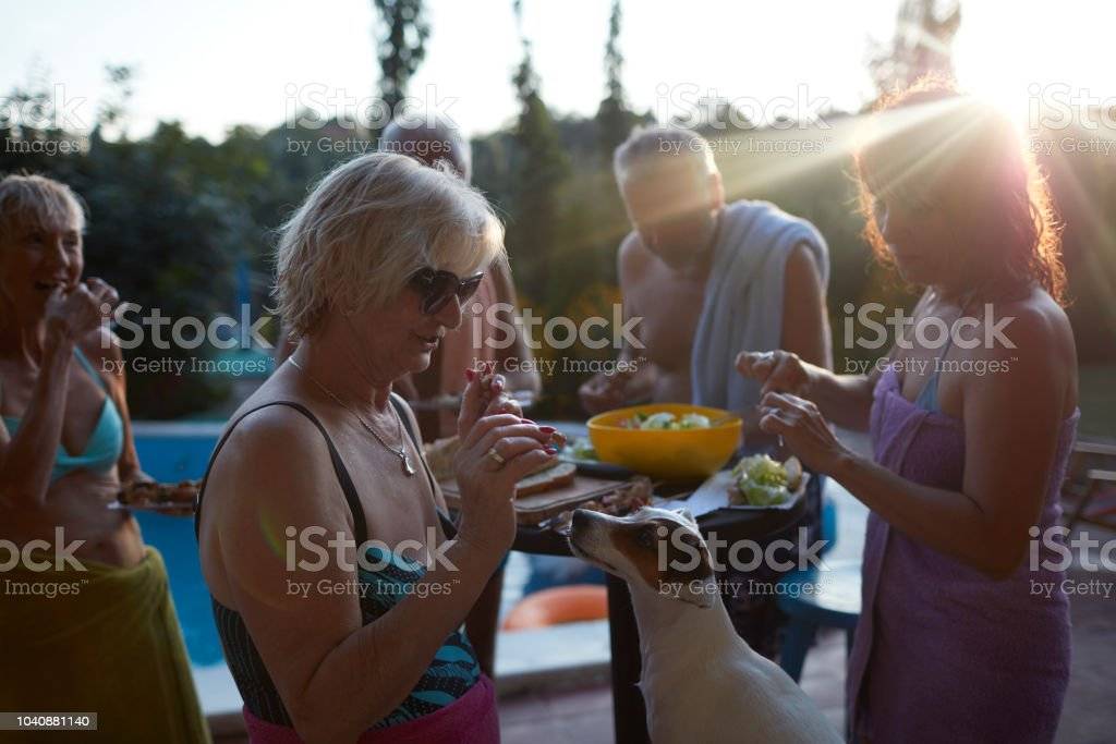 Seniors BBQ Party By The Pool stock photo