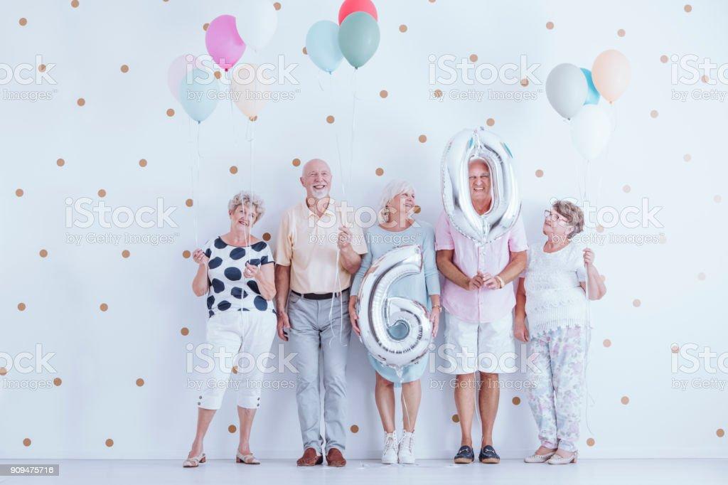 Seniors celebrating birthday stock photo