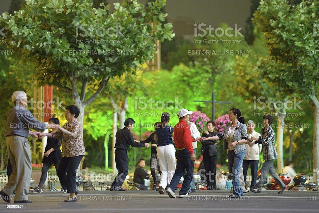 Seniors dancing in Shanghai stock photo