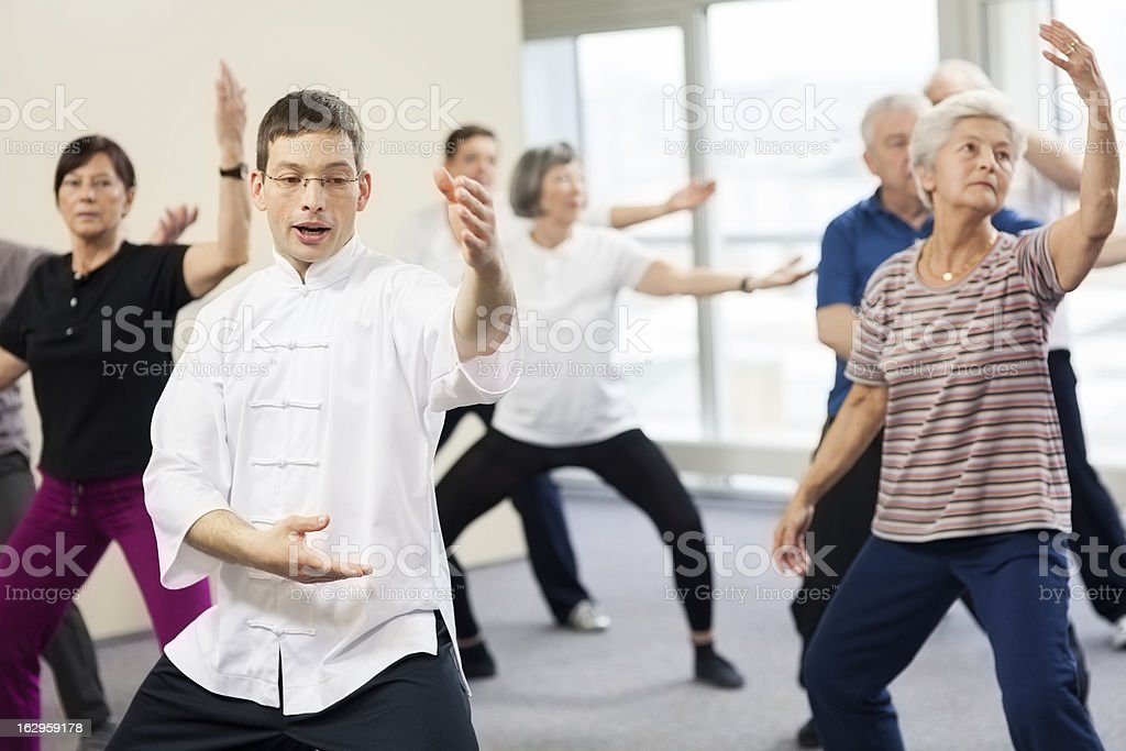 Seniors Doing Tai Chi Exercises stock photo