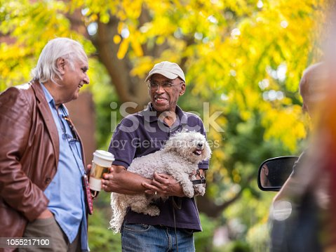 Group of senior men of various backgrounds having a friendly meet on the street in their neighborhood. Bright fall scene on the road in the North American city.