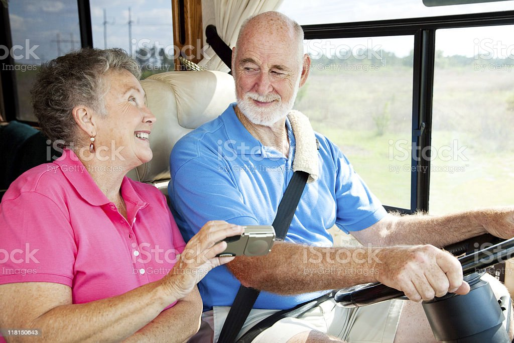 RV Seniors - GPS Navigation royalty-free stock photo