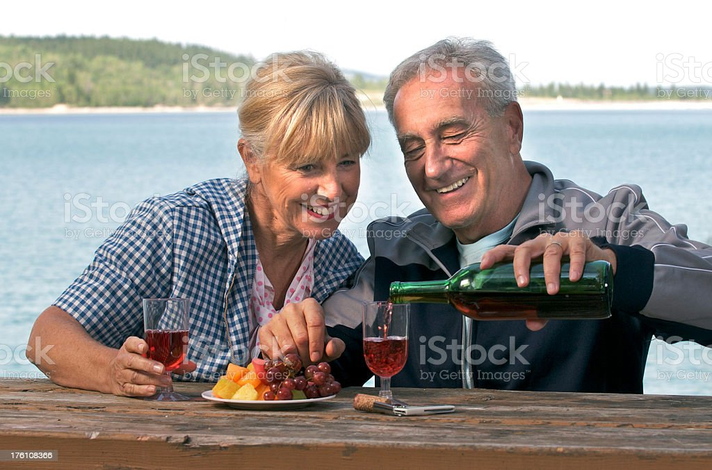 Seniors Having a Picnic royalty-free stock photo