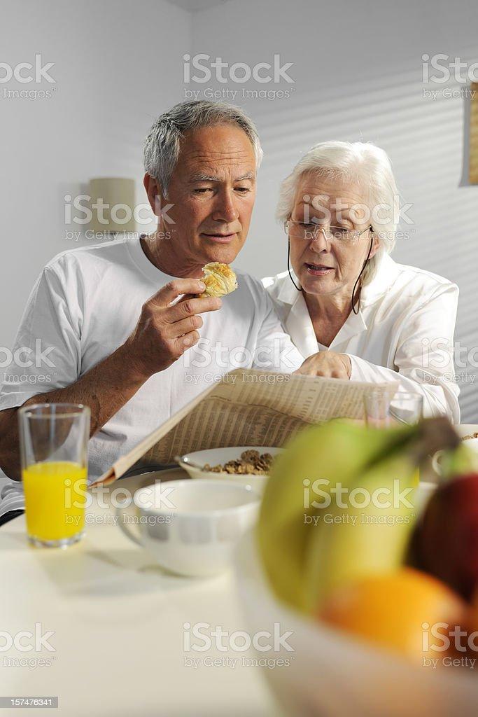 seniors having breakfast royalty-free stock photo