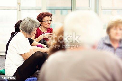 511741068 istock photo Seniors Having Conversation In Community Center 480743655