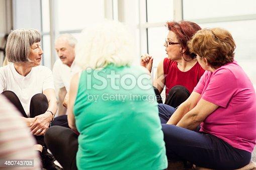 511741068 istock photo Seniors Having Conversation In Community Center 480743703