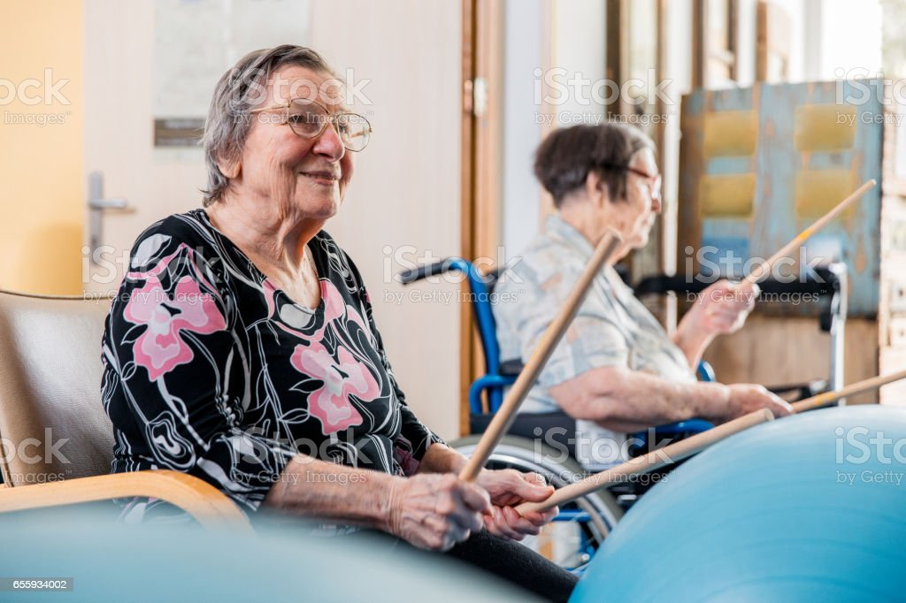 Seniors In The Retirement Community Have Physical Therapy stock photo
