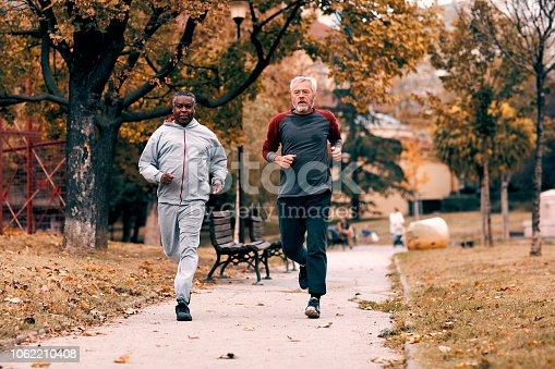 Two senior men jogging together in the morning.