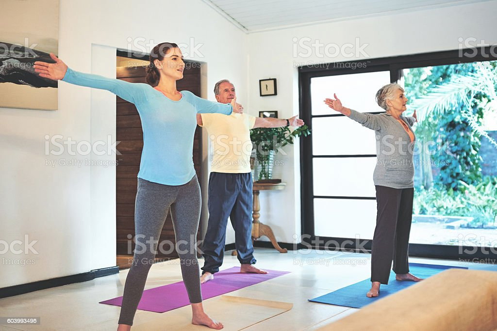 Seniors keeping in shape stock photo