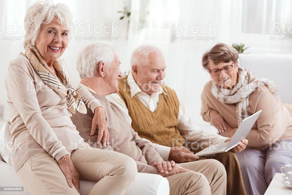 Seniors learning computer skills stock photo