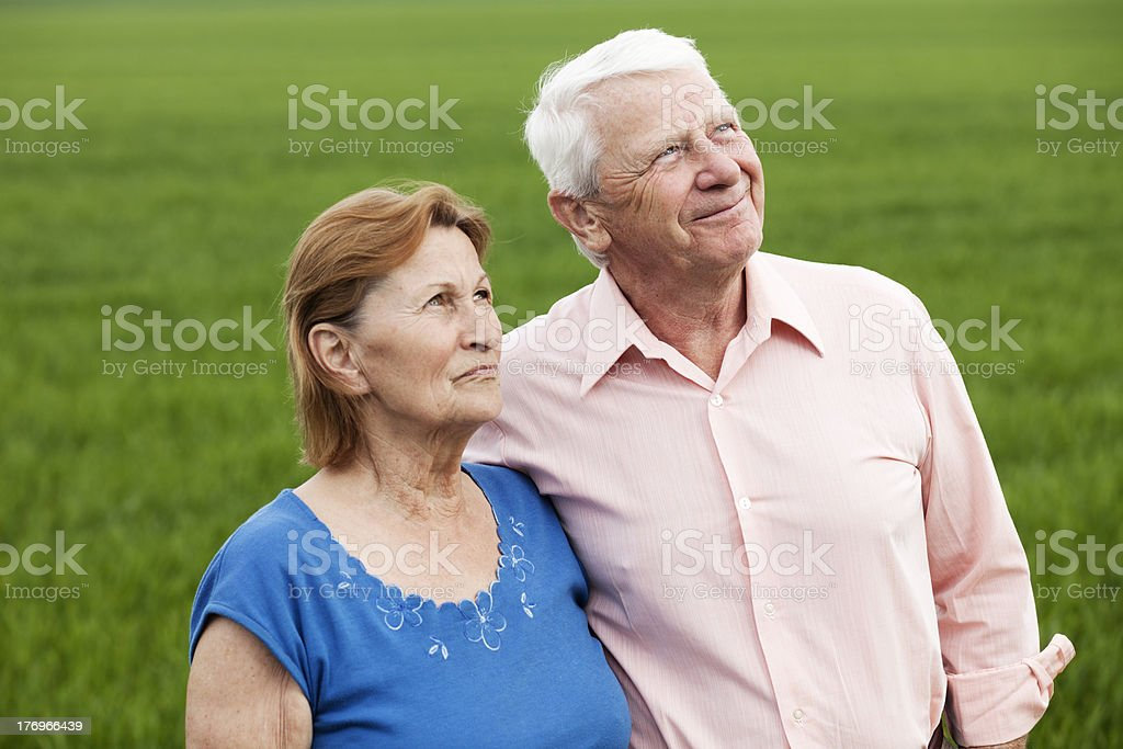 seniors looking in the sky royalty-free stock photo