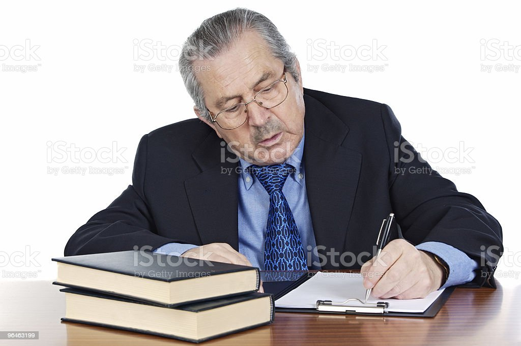 seniors man writing royalty-free stock photo