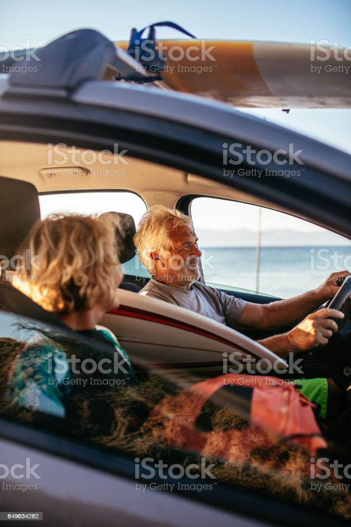Seniors on a road trip stock photo