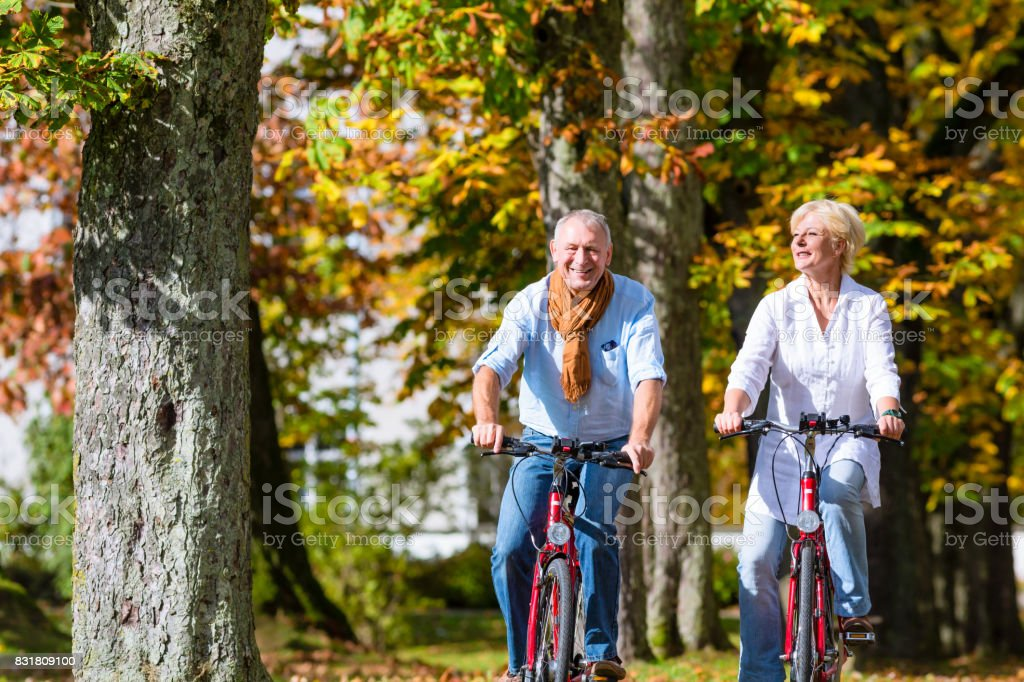 Seniors on bicycles having tour in park stock photo