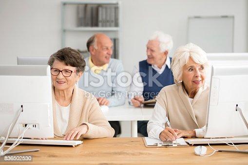 istock Seniors practising using computer 836502530