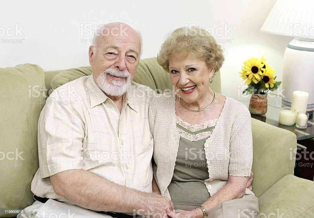 Seniors Relaxing at Home royalty-free stock photo