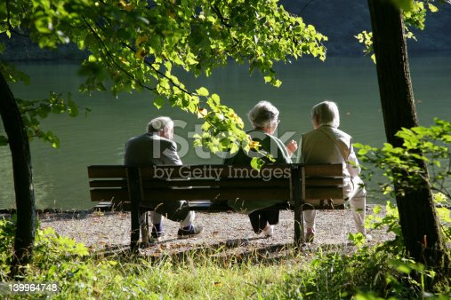 istock Seniors talking in the park 139964748