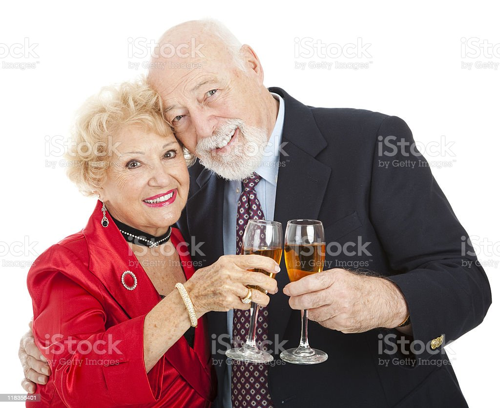 Seniors Toast with Champagne royalty-free stock photo