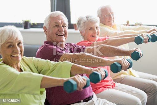 istock Seniors using weights 614035024