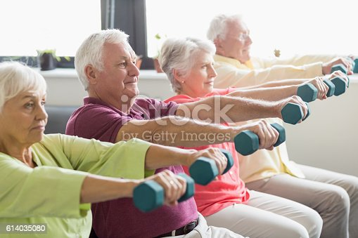 istock Seniors using weights 614035080