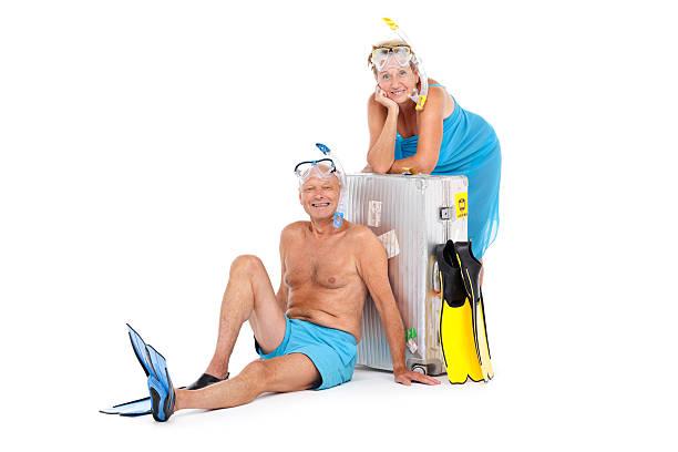 les retraités vacances plan - valise humour photos et images de collection
