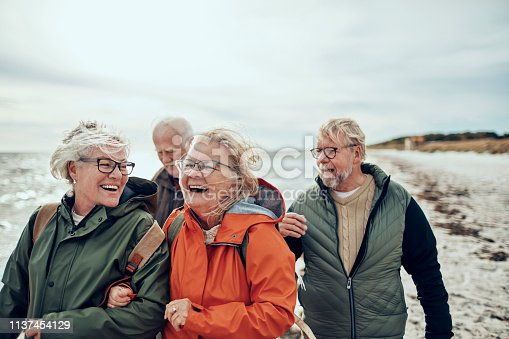 Close up of a group of seniors taking a walk by the beach