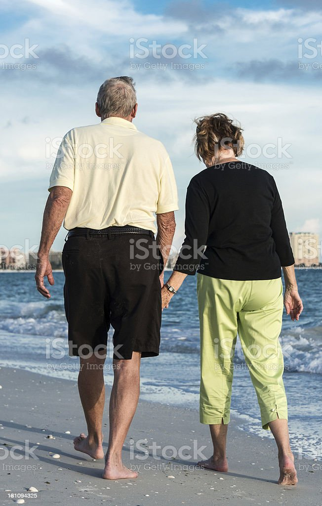 Seniors Walking royalty-free stock photo