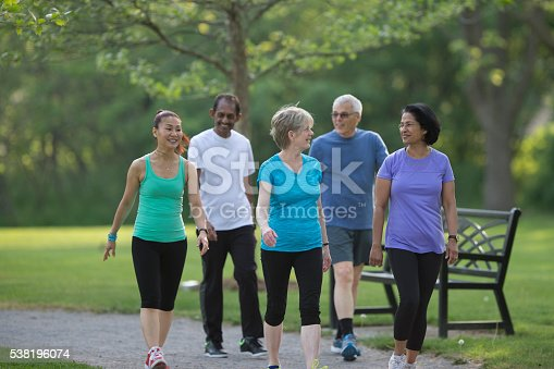 istock Seniors Walking Together at the Park 538196074