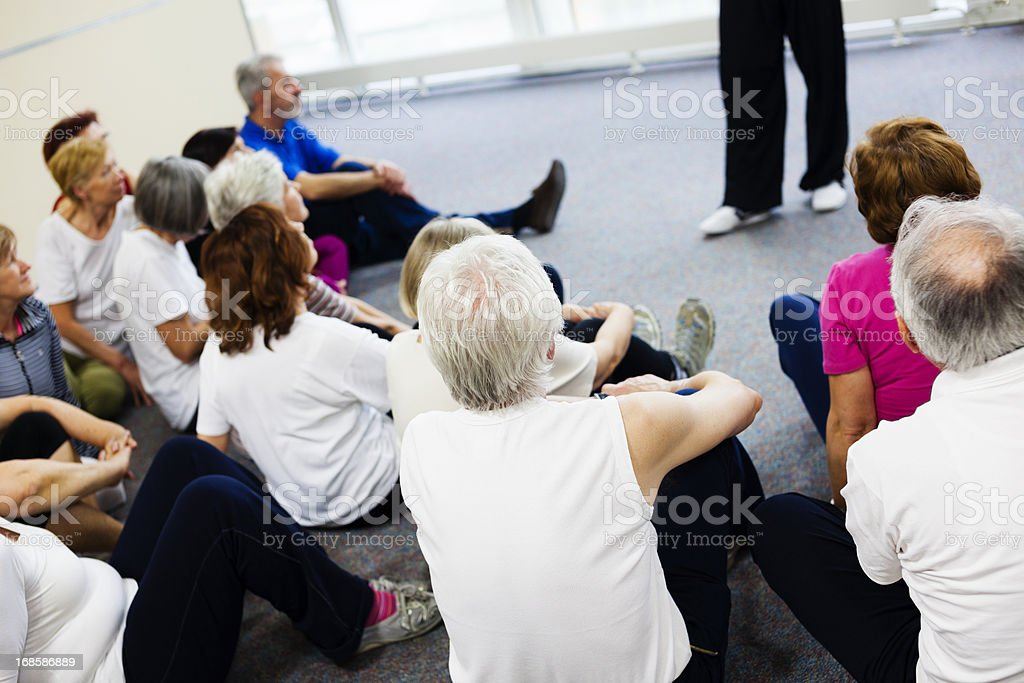 Seniors Watching Tai Chi Exercises royalty-free stock photo