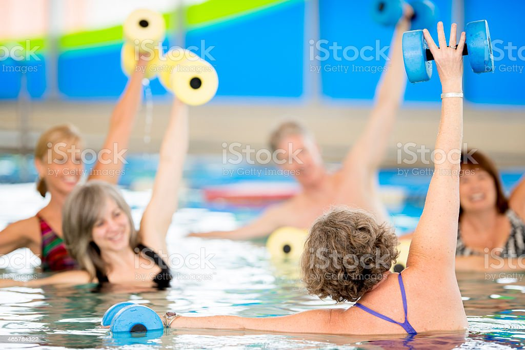 Seniors aquaerobics Instructor - foto de stock