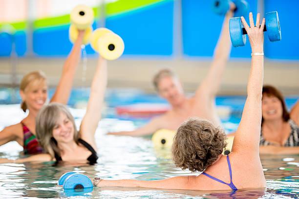 Seniors aquaerobics Instructor - foto de stock
