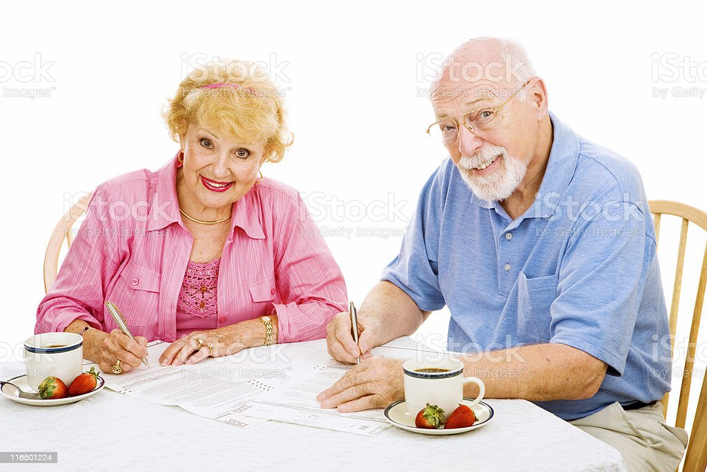 Seniors with Absentee Ballots royalty-free stock photo