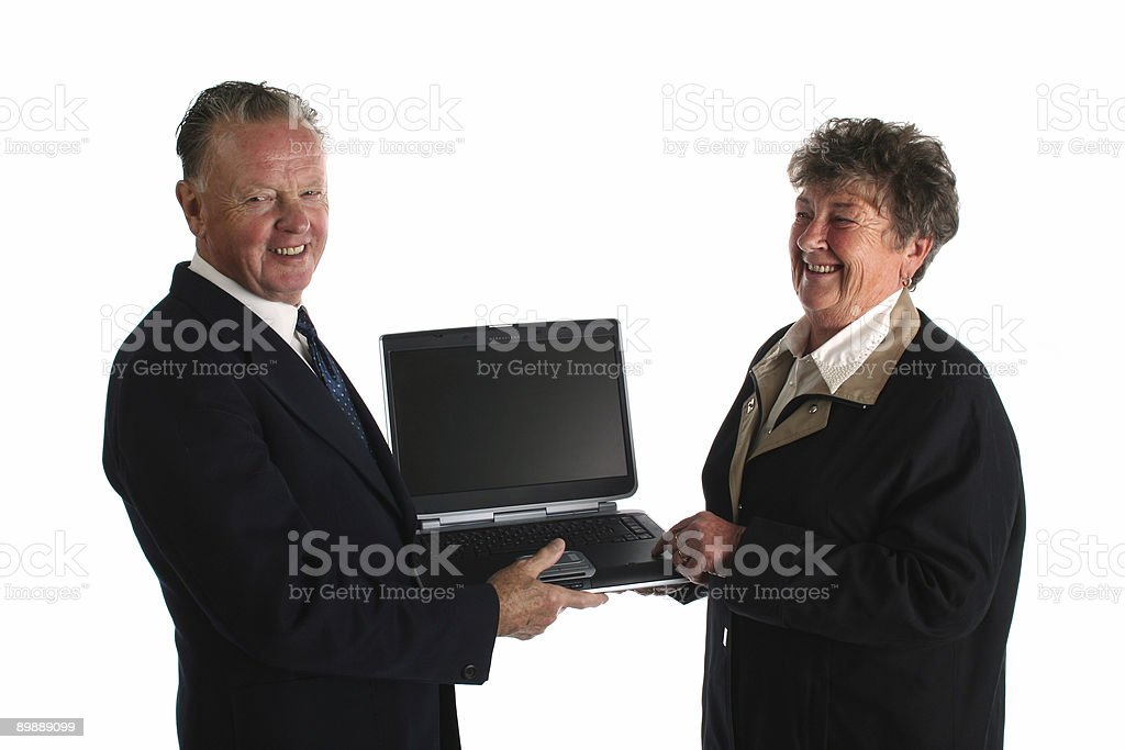 Seniors with computer royalty-free stock photo