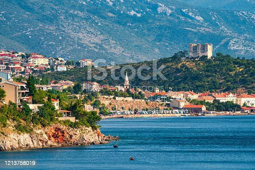 Segna/Senj , Croatia - July 30, 2018:Tourists sunbathe on a hot summer day in the coast of Segna