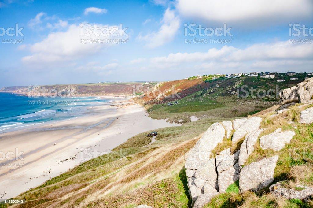Sennen Beach In Cornwall, England stock photo