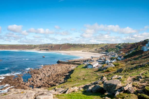 Sennen Beach In Cornwall, England Sennen Beach In Cornwall, England bay of water stock pictures, royalty-free photos & images