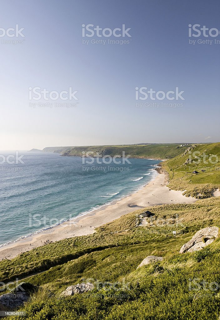 Sennen beach in West Cornwall from the cliffs stock photo