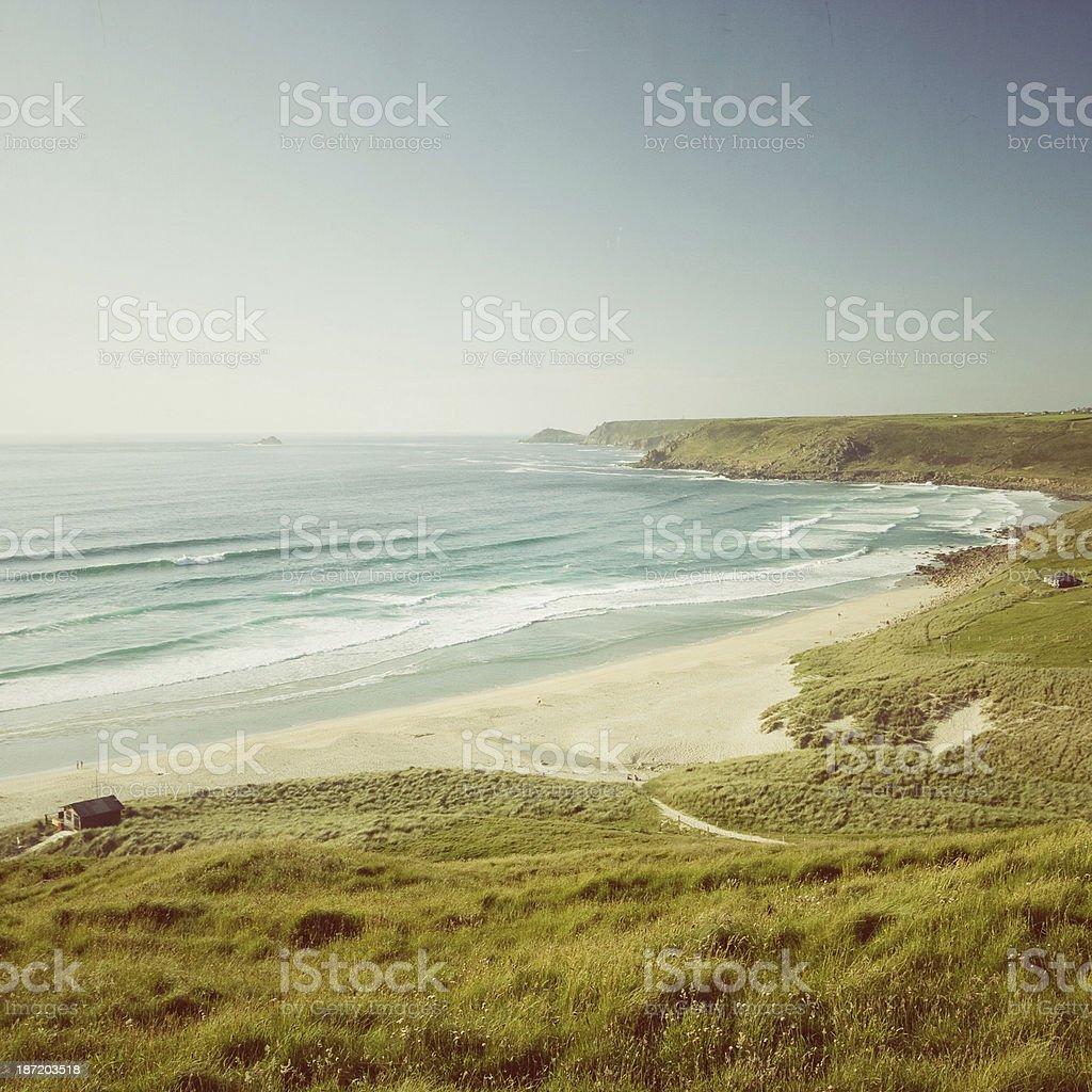 Sennen beach in West Cornwall stock photo